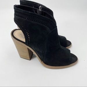 Vince Camuto black suede peep toe ankle booties